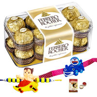 Magnificent Rakhi Gift Pack of Ferrero Rocher Chocolates with Free 2 Rakhi, Roli Tilak and Chawal on the Ocassion of Rakhi