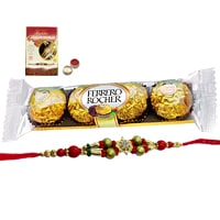 Impressive Gift Set of Ferrero Rocher Chocolates with Rakhi, Roli Tilak N Chawal for the Occasion of Raksha Bandhan<br>