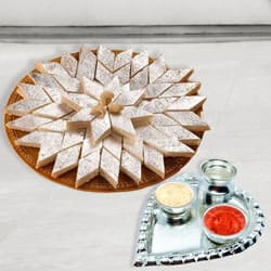 Silver Plated Paan Shaped Puja Aarti Thali (weight 52 gms) with Haldiram Kaju Katli
