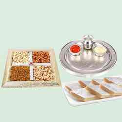 Special Silver Plated Puja Thali with Assorted Dry fruits with Haldiram Kaju Katli