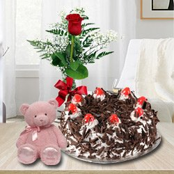 Cake, Red Rose and Teddy Bear to Ongole