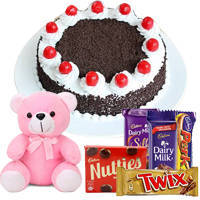 Black Forest cake with Cadburys Chocolate and Teddy to Hazira