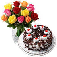 Mixed Roses with Black Forest Cake to Ongole