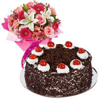 Floral bouquet with Black Forest Cake to Ongole