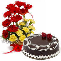 Carnations and Gerberas with Dark Chocolate Cake to Ongole