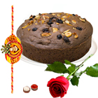 Single Red Rose and Eggless Chocolate Cake and Rakhi with Enthralling Beauty