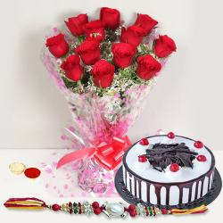 Astonishing Gift of Charming Bunch of 12 Red Roses along with Black Forest Cake