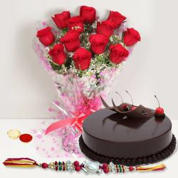 Exquisite Gift of Tasteful Eggless Cake and a Bunch of 12 Red Roses