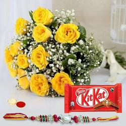 Fabulous Gift of Blushing Bundle of 12 Yellow Roses and a Pack of Kitkat Chocolate