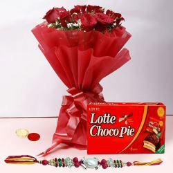 Pious Rakhi with 12 Red Roses and a Box of Choco Pie