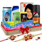 Generous Rejuvenation Gift Hamper with 2 Rakhis and Roli Tilak Chawal