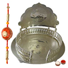 Auspicious Silver Plated Mandir Case with Rakhi and Roli Tilak Chawal