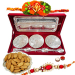 Silver plated set of  bowls with a tray and spoons with Rakhi and Roli Tilak Chawal