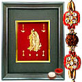 Divine Blessings with Gold Plated Radha Krishna in a Photo frame with Rakhi and Roli Tilak Chawal