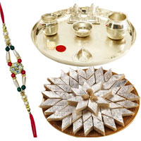 Impressionable <font color=#FF0000>Haldiram</font> Katli, Rakhi and Pooja Thali for Celebration