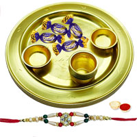 Delicious Gift of Chocolaty 4 Eclairs Arranged in a Lovely Silver Plated Thali