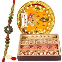 Delightful <font color=#FF0000>Haldiram</font>s Mixed Sweets Associated with Rakhi Thali