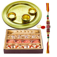 Decorative Silver Rakhi Thali Set with Sweets