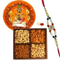Trendy Pooja Thali with Dry Fruits and Rakhi with Refreshing Wishes