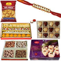 Astonishing Sweet and Spicy Hamper with a Designer American Diamond Rakhi, Roli, Tilak and Chawal for your Loving Brother
