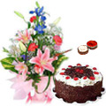 Mixed Flower Bouquet with Cake