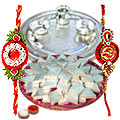 Wonderful Silver Plated thali with <font color=#FF0000>Haldiram</font>s Badam Katli with 2 free Rakhi, Roli tilak and Chawal