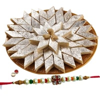 <font color=#FF0000>Haldiram</font> Kaju Katli Delight with 1 Free Rakhi, Roli Tilak and Chawal