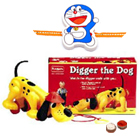 Funskool Diggler Dog   Toy with free Rakhi,Roli , Tilak and Chawal.