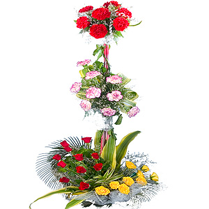 Special Arrangement of3-Tier  Assorted Flowers to India.
