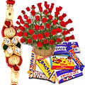 Attractive Collection of Cadburys Chocolates with 24 Red Roses