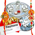 Fascinating Hamper of Attractive Gift Voucher from Raymond of Rs 1000, Well-Prepared Kaju Katli of 250 Gms and Treasured Silver Plated Thali